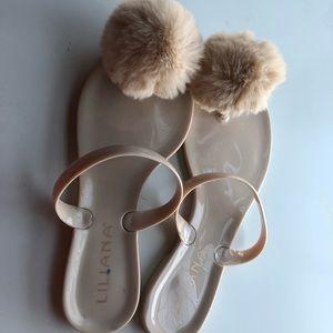 Liliana Beige Fuzzy Ball Sandals, Size 6